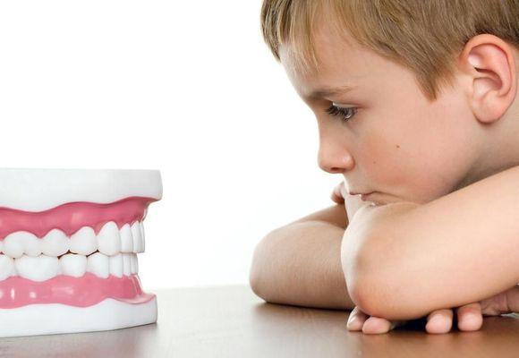 ребенок смотрит на вставную челюсть