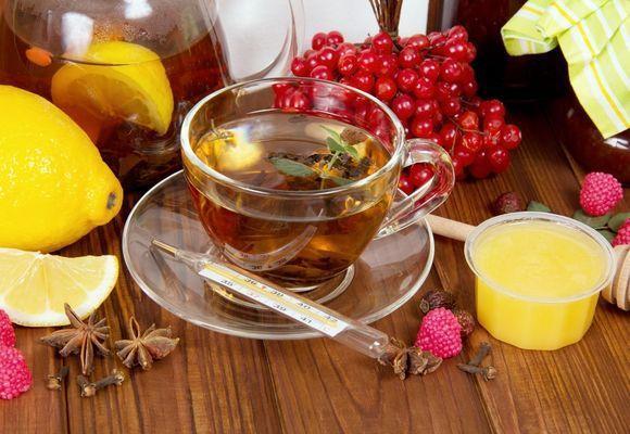 чай в чашке и градусник