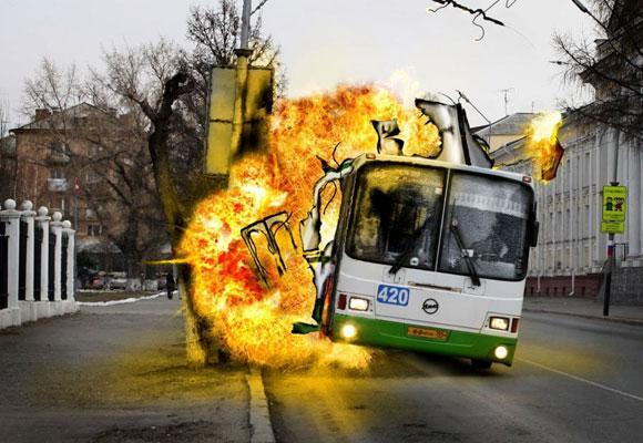 Автобус взорвался