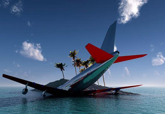 Самолет упал в море