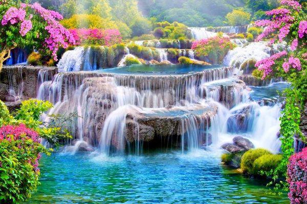 водопад в цветах
